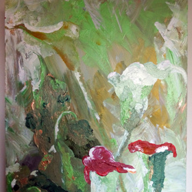 """""""4 Calla Lillies"""", 11""""x14""""x2"""", 2011"""