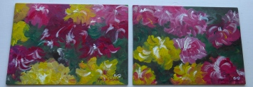 "Duo Roses in the Garden, 2011. 10"" x 28"""