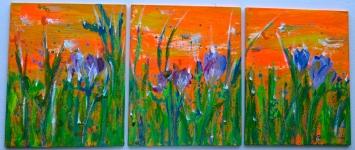 "Triptych Freesia in Fiesta, 2011.10"" x 24"""